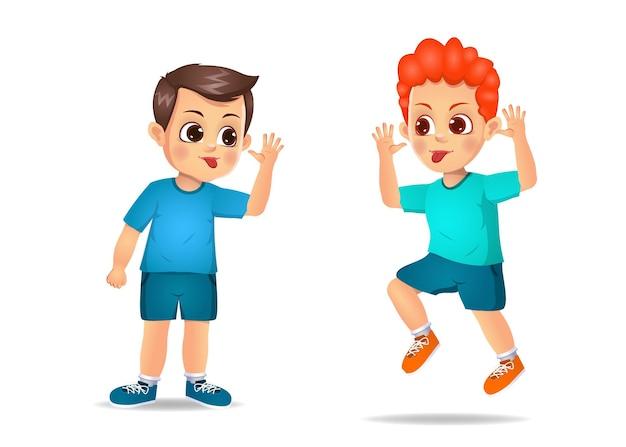 Crianças más intimidam umas às outras. isolado no branco