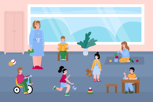 Crianças, meninas e meninos brincam com brinquedos no jardim de infância ou na sala de jogos
