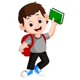Crianças menino carregando livro dos desenhos animados