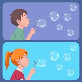 Crianças, menino e menina, brincando com bolhas de sabão
