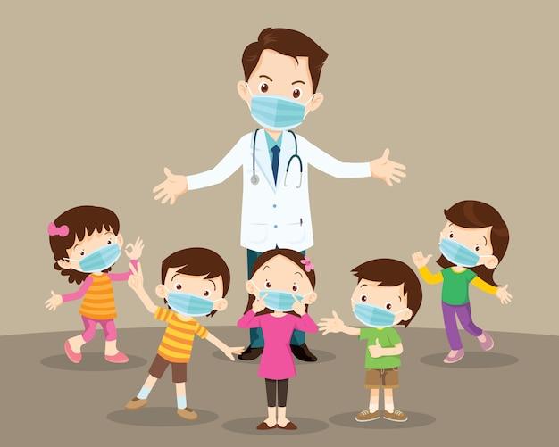 Crianças menino e menina e médico usando máscara médica protetora contra vírus