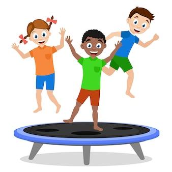 Crianças meninos e meninas pulando em um trampolim