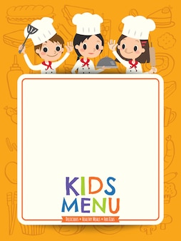 Crianças menu jovem chef crianças com desenhos animados de placa de menu em branco