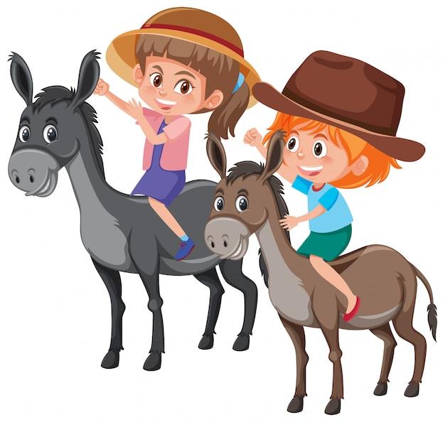Crianças, montando, burro, branco, fundo