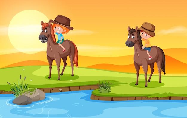 Crianças, montando, cavalo, em, natureza