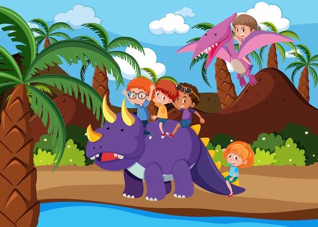 Crianças, montando, dinossauro, cena
