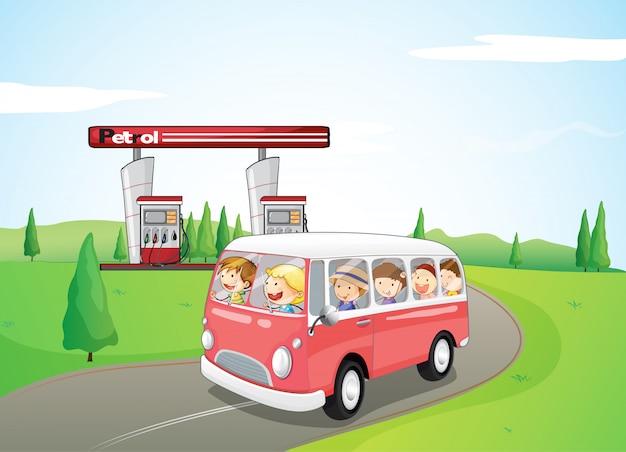 Crianças, montando, ligado, um, autocarro