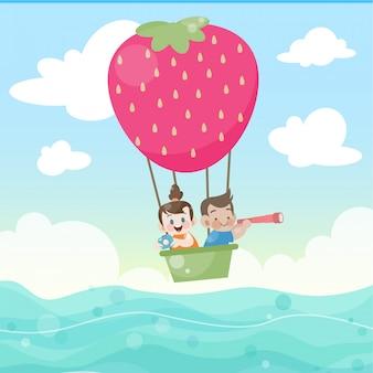 Crianças, montando, um, quentes, balloon, vetorial, ilustração