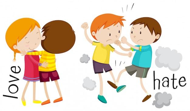 Crianças mostrando amor e ódio