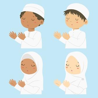 Crianças muçulmanas de meio corpo rezando, conjunto de desenhos animados.