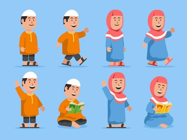 Crianças muçulmanas em alguma pose. adequado para ilustração do tema islâmico.