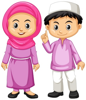 Crianças muçulmanas em roupa roxa