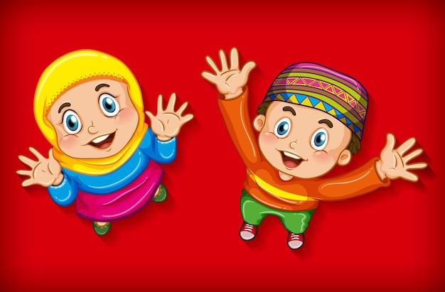 Crianças muçulmanas felizes de vista aérea