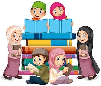 Crianças muçulmanas, livro leitura
