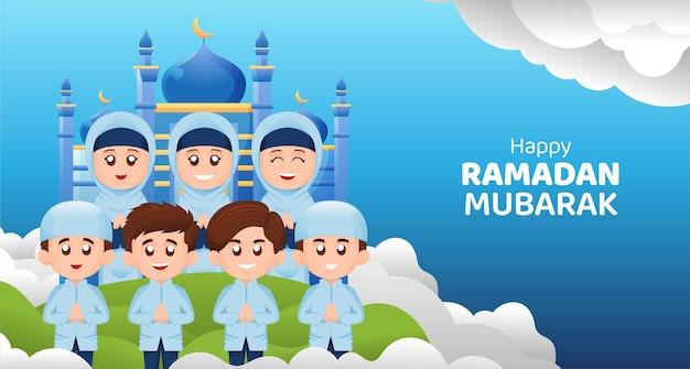 Crianças muçulmanas, menino e menina, cumprimentando ramadan kareem mubarak com o conceito de ilustração de sorriso feliz