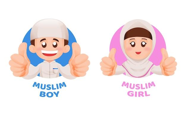 Crianças muçulmanas, menino e menina em roupas islâmicas, polegares para cima e sorriso no conceito de ilustração de mascote