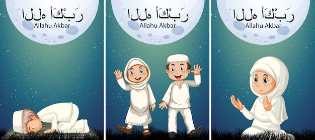 Crianças muçulmanas praticam religião nossa porta