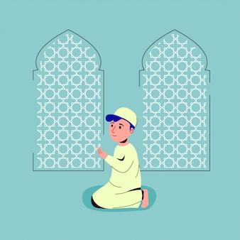 Crianças muçulmanas rezando na ilustração de mesquita