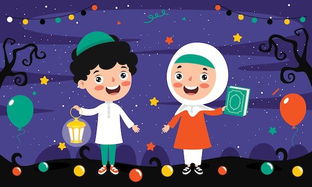 Crianças muçulmanas segurando o livro sagrado do alcorão e uma lâmpada em uma paisagem noturna festiva