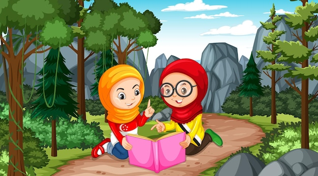 Crianças muçulmanas usam roupas tradicionais lendo um livro na cena da floresta