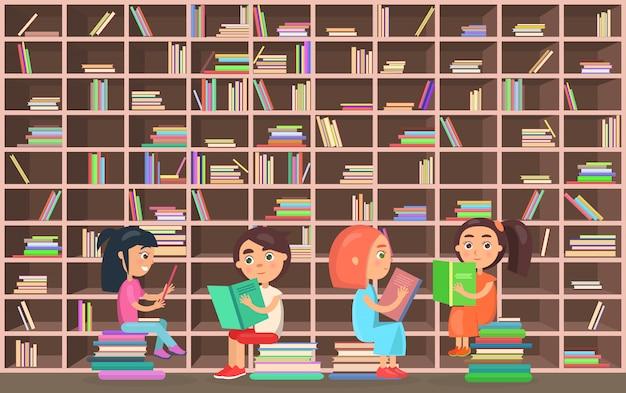 Crianças na biblioteca leia livros ao lado da estante