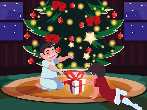 Crianças na cena da noite de natal com caixa de presente