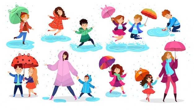 Crianças na chuva, crianças felizes com guarda-chuva, conjunto de personagens de desenhos animados, ilustração