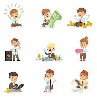 Crianças na coleção de negócios financeiros de meninos bonitos e meninas trabalhando como empresário lidar com muito dinheiro