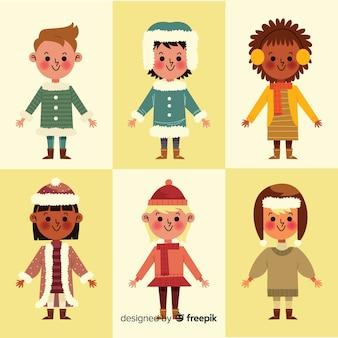 Crianças na coleção de roupas de inverno