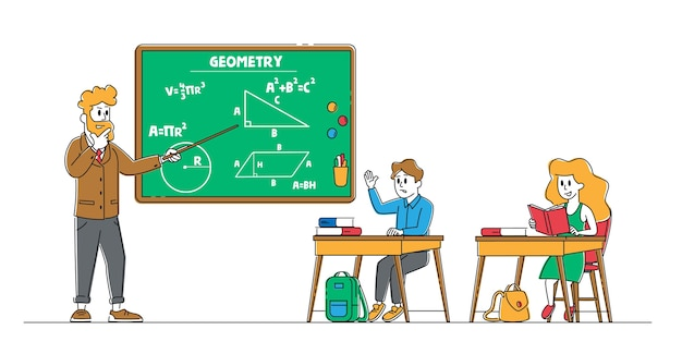 Crianças na escola, menino e menina, sentados na mesa na sala de aula, estudando