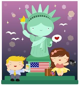 Crianças na estátua da liberdade