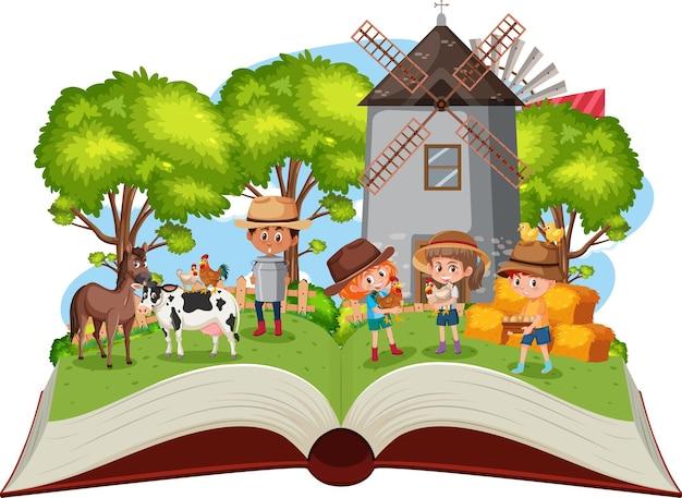 Crianças na fazenda