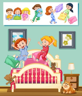 Crianças na festa do pijama na ilustração do quarto