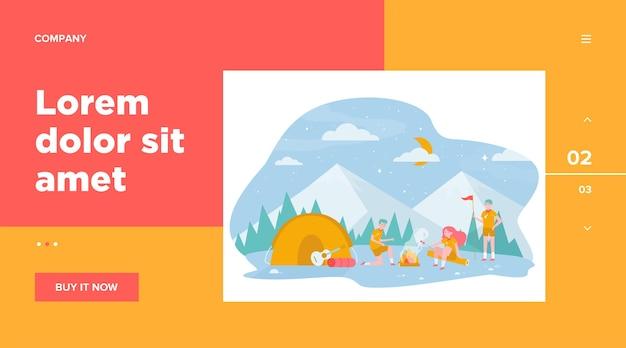 Crianças na fogueira em ilustração plana de floresta de montanha.