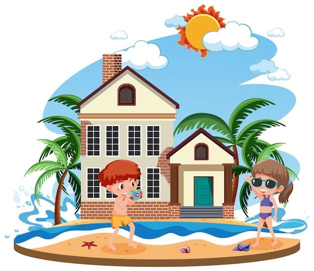 Crianças na frente da casa de praia