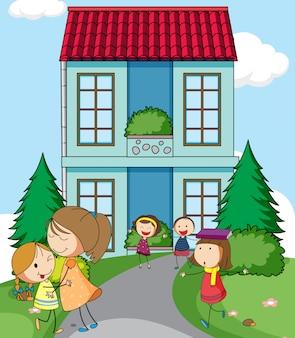 Crianças na frente da casa simples