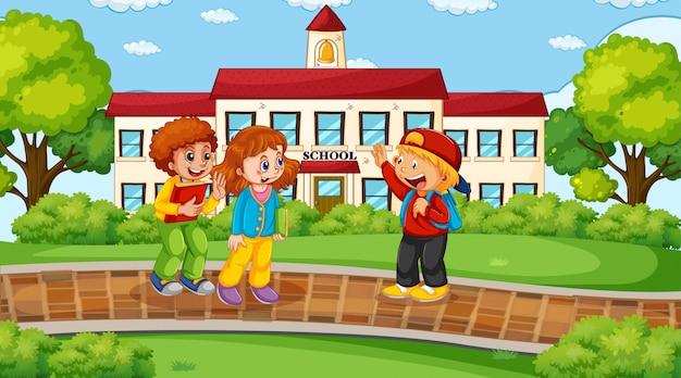 Crianças na frente da cena da escola