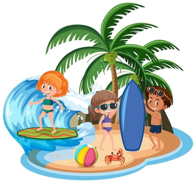 Crianças na ilha isoladas
