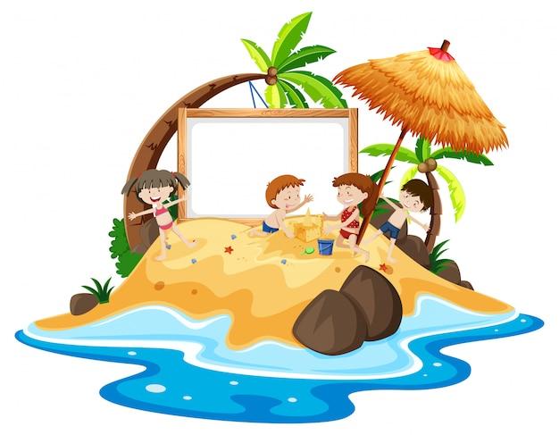 Crianças na ilha