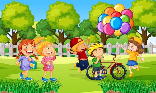Crianças na ilustração da natureza ao ar livre