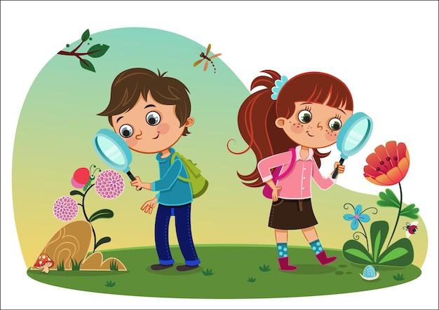 Crianças na natureza ilustração vetorial