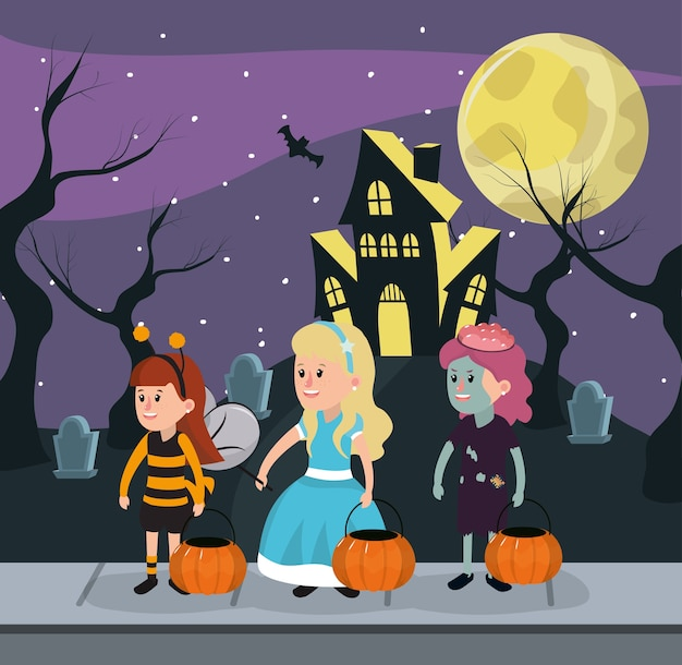 Crianças na noite de halloween