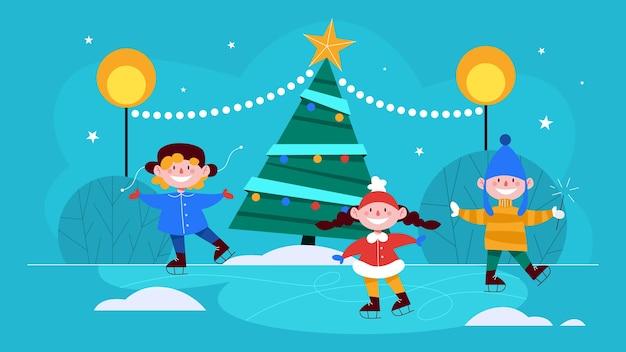 Crianças na rua para a árvore de natal patinando. decoração tradicional do feriado. crianças felizes aproveitam o inverno. ilustração em grande estilo