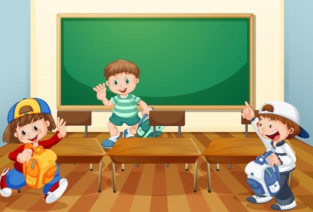 Crianças na sala de aula com livros