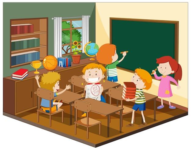Crianças na sala de aula com móveis