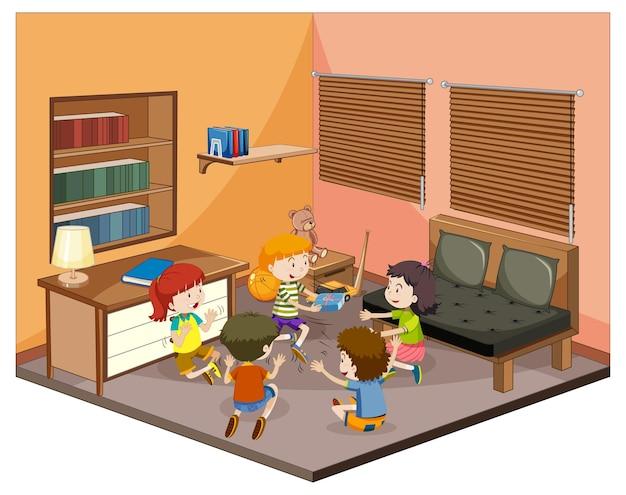 Crianças na sala de estar com móveis