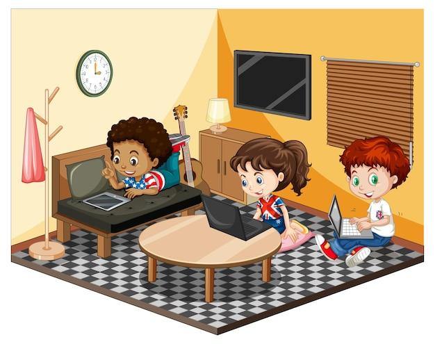 Crianças na sala de estar em cena temática amarela