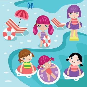 Crianças nadando na ilustração da ilustração da piscina
