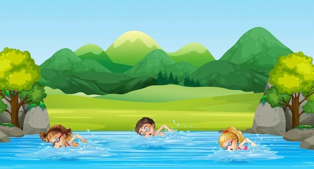 Crianças, natação, em, a, rio