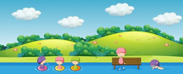 Crianças, natação, em, natureza
